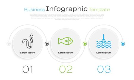 Set line Fishing hook and worm, Fish and Fishing float in water. Business infographic template. Vector