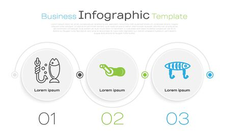 Set line Fishing, Spinning reel for fishing and Fishing lure. Business infographic template. Vector