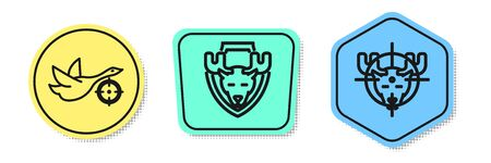 Set line Hunt on duck with cross hairs, Moose head on shield and Hunt on moose with cross hairs. Colored shapes. Vector
