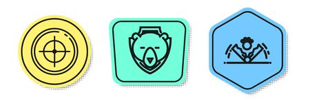 Set line Target sport for shooting competition, Bear head on shield and Trap hunting. Colored shapes. Vector