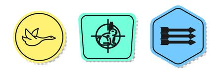 Set line Flying duck, Hunt on rabbit with crosshairs and Hipster arrows. Colored shapes. Vector