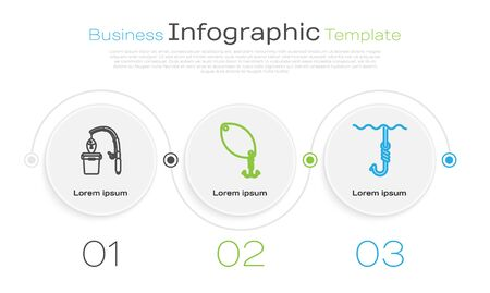 Set line Fishing rod and fish, Fishing spoon and Fishing hook under water. Business infographic template. Vector