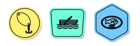 Set line Fishing spoon, Fishing boat with oars on water and Fish trophy hanging on the board. Colored shapes. Vector Illustration