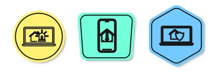 Set line Laptop with smart house and alarm, Mobile phone with house temperature and Laptop with house under protection. Colored shapes. Vector