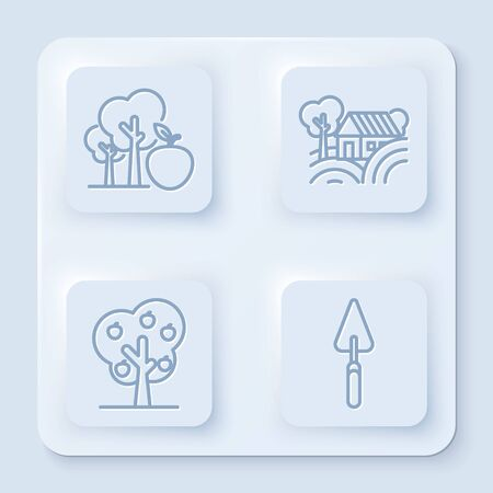 Set line Tree with apple, Farm House concept, Tree with apple and Garden trowel spade or shovel. White square button. Vector