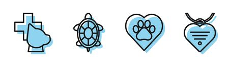Set line Heart with animals footprint, Veterinary clinic symbol, Turtle and Collar with name tag and heart icon. Vector