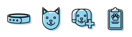 Set line Veterinary clinic symbol, Collar with name tag, Cat and Clipboard with medical clinical record pet icon. Vector