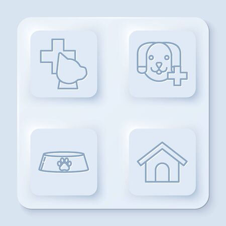 Set line Veterinary clinic symbol, Veterinary clinic symbol, Pet food bowl for cat or dog and Dog house. White square button. Vector Illustration