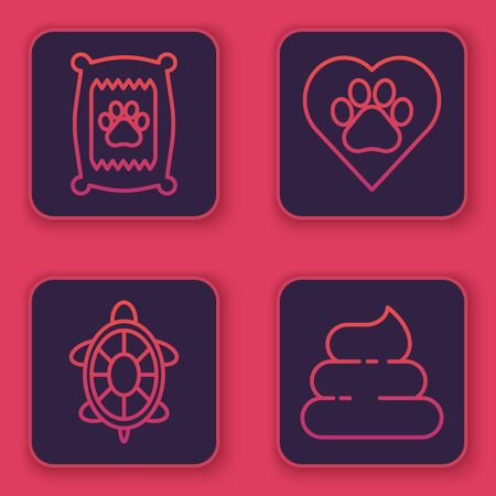 Set line Bag of food for dog, Turtle, Heart with animals footprint and Shit. Blue square button. Vector Illustration