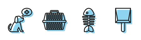 Set line Fish skeleton, Veterinary clinic symbol, Pet carry case and Dustpan icon. Vector