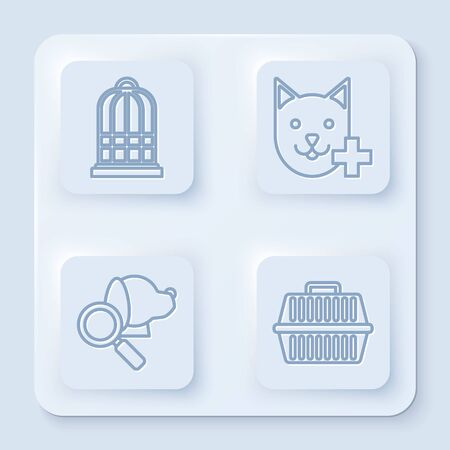 Set line Cage for birds, Veterinary clinic symbol, Veterinary clinic symbol and Pet carry case. White square button. Vector