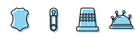 Set line Thimble for sewing, Leather, Classic closed steel safety pin and Needle bed and needles icon. Vector