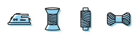 Set line Sewing thread on spool, Electric iron, Sewing thread on spool and Sewing thread on spool icon. Vector Vector Illustratie
