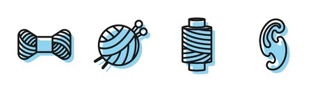 Set line Sewing thread on spool, Sewing thread on spool, Yarn ball with knitting needles and French curves icon. Vector