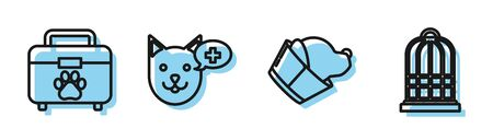Set line Veterinary clinic symbol, Pet first aid kit, Veterinary clinic symbol and Cage for birds icon. Vector