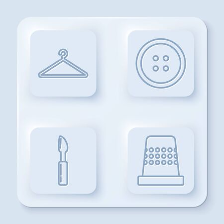 Set line Hanger wardrobe, Sewing button for clothes, Cutter tool and Thimble for sewing. White square button. Vector