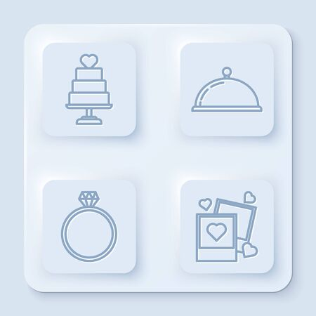 Set line Wedding cake with heart, Covered with a tray of food, Diamond engagement ring and Two blanks photo frames and hearts. White square button. Vector