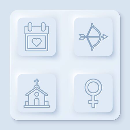 Set line Calendar with heart, Bow and arrow, Church building and Female gender symbol. White square button. Vector Illustration