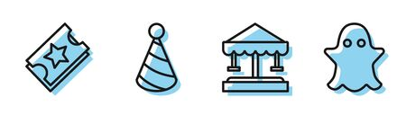 Set line Attraction carousel, Ticket, Party hat and Ghost icon. Vector Illustration