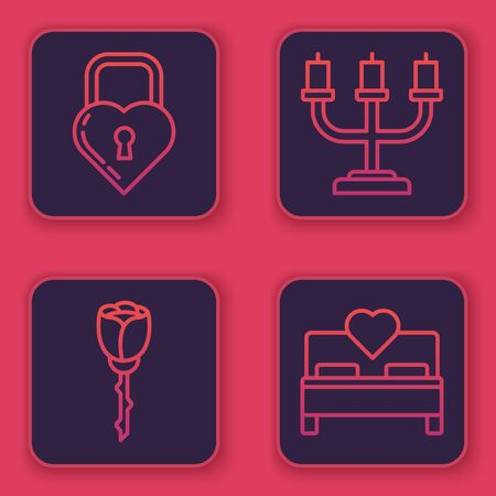 Set line Castle in the shape of a heart, Flower rose, Candlestick and Bedroom. Blue square button. Vector