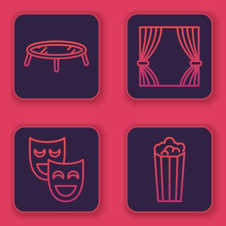 Set line Jumping trampoline, Comedy theatrical masks, Curtain and Popcorn in cardboard box. Blue square button. Vector