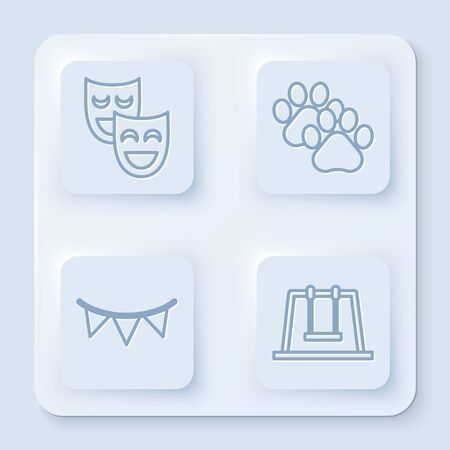 Set line Comedy theatrical masks, Paw print, Carnival garland with flags and Swing. White square button. Vector 矢量图像