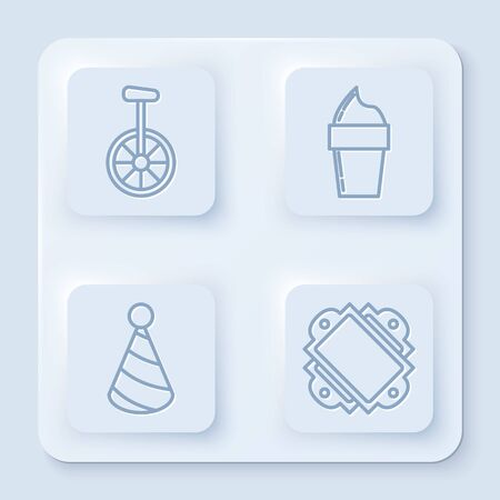 Set line Unicycle or one wheel bicycle, Ice cream in waffle cone, Party hat and Ticket. White square button. Vector