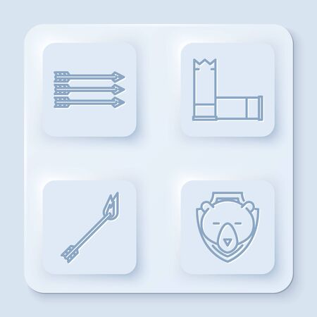 Set line Hipster arrows, Cartridges, Flame arrow and Bear head on shield. White square button. Vector