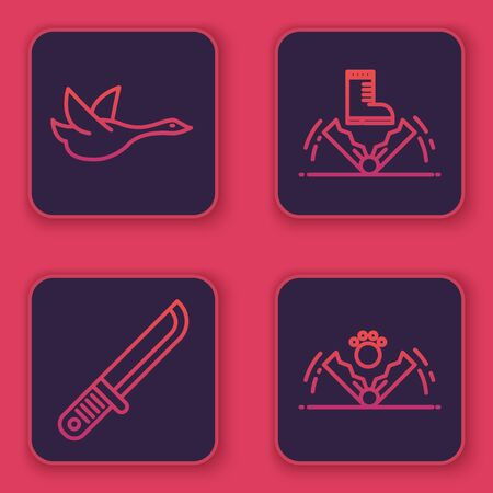 Set line Flying duck, Hunter knife, Trap hunting and Trap hunting. Blue square button. Vector