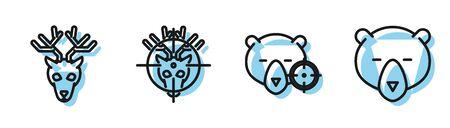 Set line Hunt on bear with cross hairs, Deer head with antlers, Hunt on deer with cross hairs and Bear head icon. Vector Illustration
