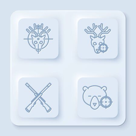 Set line Hunt on deer with crosshairs, Hunt on deer with crosshairs, Two crossed shotguns and Hunt on bear with crosshairs. White square button. Vector Vettoriali