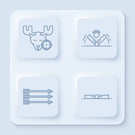 Set line Hunt on moose with crosshairs, Trap hunting, Hipster arrows and Trap hunting. White square button. Vector Illustration