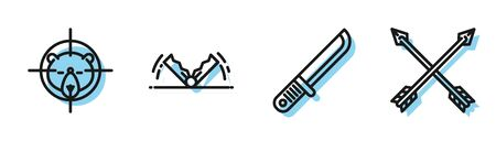 Set line Hunter knife, Hunt on bear with crosshairs, Trap hunting and Crossed arrows icon. Vector