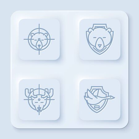 Set line Hunt on bear with crosshairs, Bear head on shield, Hunt on moose with crosshairs and Flying duck on shield. White square button. Vector Illustration
