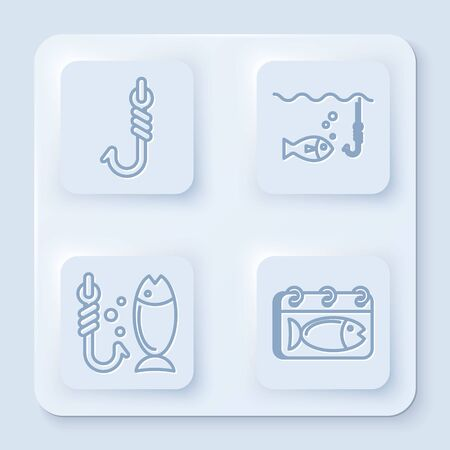 Set line Fishing hook, Fishing hook under water with fish, Fishing and Calendar with a fish. White square button. Vector