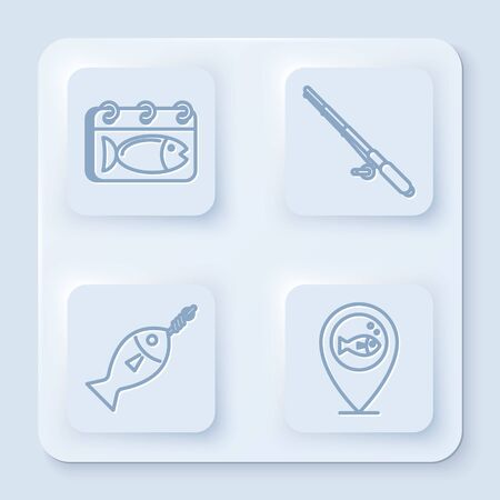 Set line Calendar with a fish, Fishing rod, Fish on hook and Location fishing. White square button. Vector