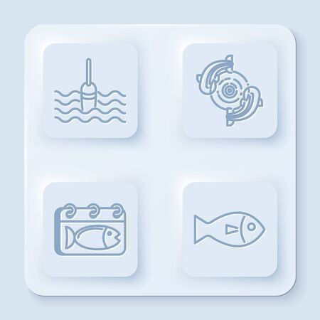 Set line Fishing float in water, Fish, Calendar with a fish and Fish. White square button. Vector