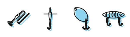 Set line Fishing spoon, Fishing line with hook and float, Fishing hook and float and Fishing lure icon. Vector Illustration