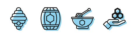 Set line Honey dipper stick and bowl, Hive for bees, Wooden barrel with honey and Honeycomb and hand icon. Vector