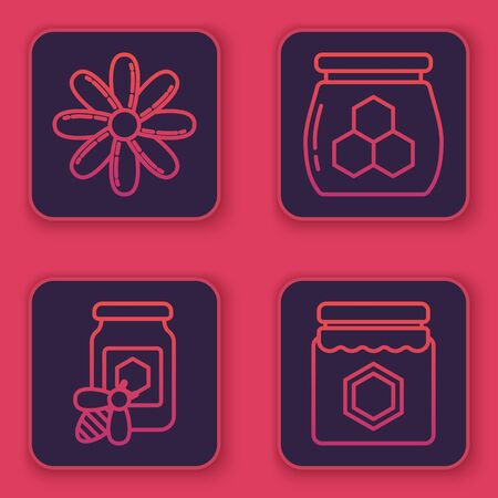 Set line Flower, Jar of honey with bee, Jar of honey and Jar of honey. Blue square button. Vector