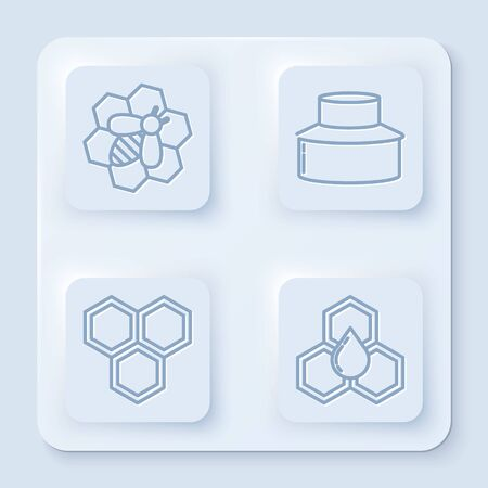 Set line Bee and honeycomb, Beekeeper with protect hat, Honeycomb and Honeycomb. White square button. Vector