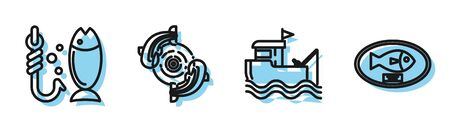 Set line Fishing boat with fishing rod on water, Fishing, Fish and Fish trophy hanging on the board icon. Vector
