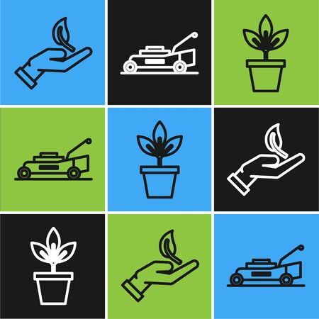 Set line Sprout in hand of environmental protection, Flowers in pot and Lawn mower icon. Vector
