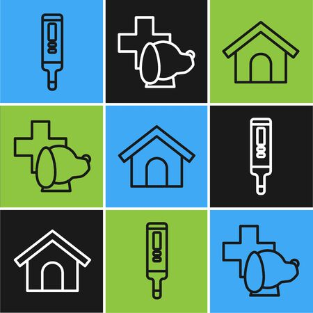 Set line Medical digital thermometer, Dog house and Veterinary clinic symbol icon. Vector