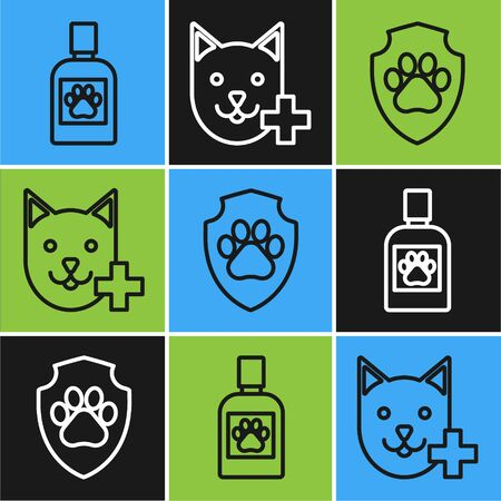 Set line Dog medicine bottle, Animal health insurance and Veterinary clinic symbol icon. Vector
