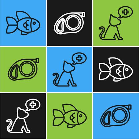 Set line Fish, Veterinary clinic symbol and Retractable cord leash with carabiner icon. Vector