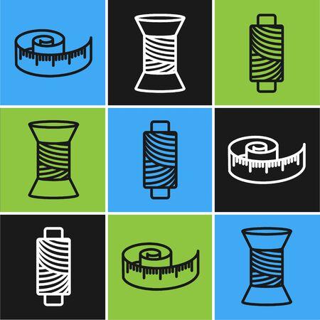 Set line Tape measure, Sewing thread on spool and Sewing thread on spool icon. Vector Çizim