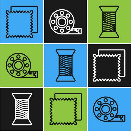 Set line Textile fabric roll, Sewing thread on spool and Tape measure icon. Vector