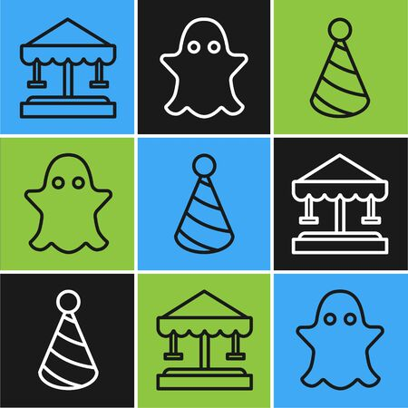 Set line Attraction carousel, Party hat and Ghost icon. Vector Illustration