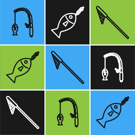 Set line Fishing rod and fish, Fishing net and Fish on hook icon. Vector Vettoriali